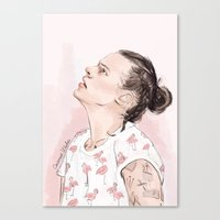 coconutwishes Canvas Prints featuring Harry Flamingo by Coconut Wishes