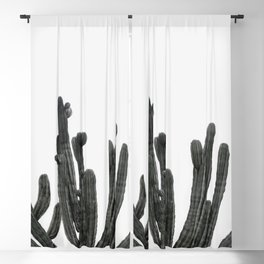 Black and White Cactus Blackout Curtain
