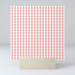 Large Lush Blush Pink and White Gingham Check Mini Art Print