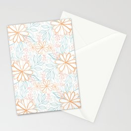 Large Flower Pattern in Muted Citrus Orange Turquoise Pink Beige Stationery Cards