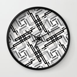 Seamless Geometric Black and White Abstract Pattern Wall Clock