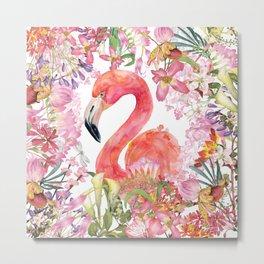 Flamingo in Tropical Flower Jungle Metal Print