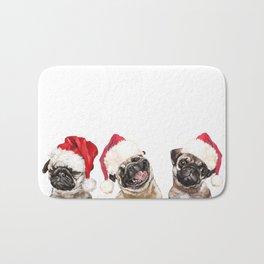 3 Emotional Pugs before Christmas Bath Mat