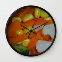 vegetables Wall Clocks featuring Summer Vegetables by MehrFarbeimLeben