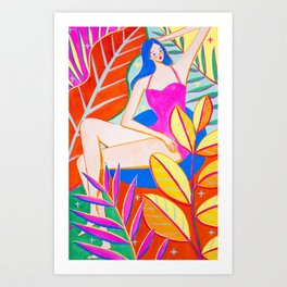 Girl and Colorful Leaves Art Print