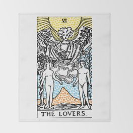 Modern Tarot Design - 6 The Lovers Throw Blanket