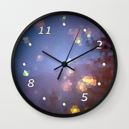 Abstract landscape with full moon and stars Wall Clock