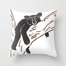 Black Bear Lounge Throw Pillow