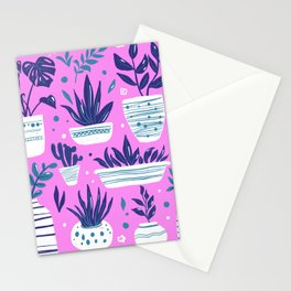 Indoor plants on pink Art poster Stationery Cards