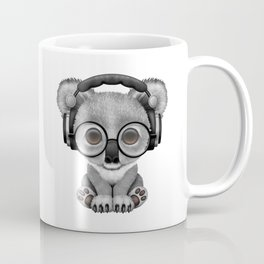 Cute Baby Koala Bear Dj Wearing Headphones on Blue Coffee Mug