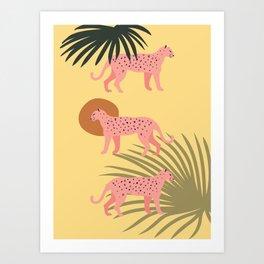 Triple Pink Cheetah Art Print