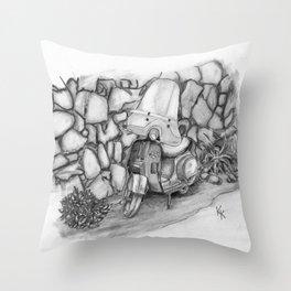 Italy-Vintage Vespa Throw Pillow