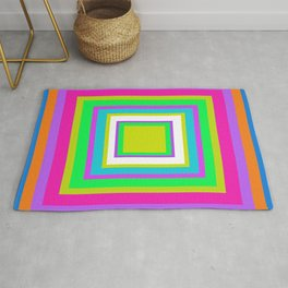 Concentric Squares Blue Pink Green White Rug