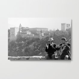 Busking under the Granada Sun Metal Print