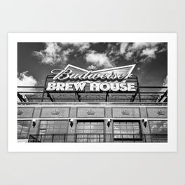 Brew House At Busch Stadium In Black and White Art Print