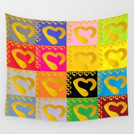 Gold Hearts on colorful Stamp Wall Tapestry