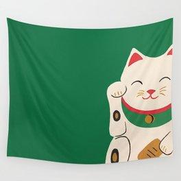 Green Lucky Cat Maneki Neko Wall Tapestry