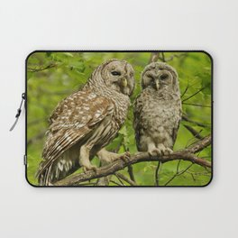 Mom and baby barred owl Laptop Sleeve