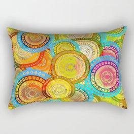 Colorful Circular Tribal  pattern with gold Rectangular Pillow
