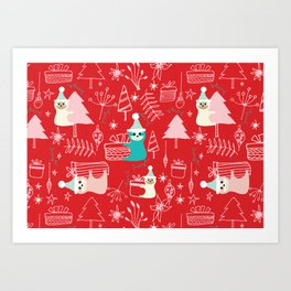 Santa Claus Cute Sloth Christmas pattern Red #christmas Art Print