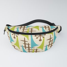 Retro Mid Century Modern Atomic Wing Pattern 423 Brown Olive Green and Turquoise Fanny Pack
