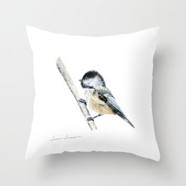 """""""Chicka-dee-dee-dee"""" a painting of a Chickadee by Teresa Thompson Throw Pillow"""