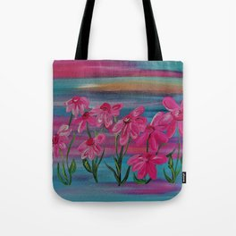 Pink Gerbera Daisies on Burlap Tote Bag
