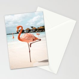 Travel Photography Art Print | Pink Flamingo Beach Photo | Aruba Island Tropical Summer Bird  Stationery Cards