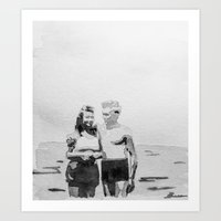 Young Love Watercolor Art Print