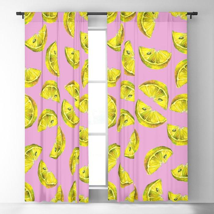 Lemon Slices Pattern Pink Blackout Curtain