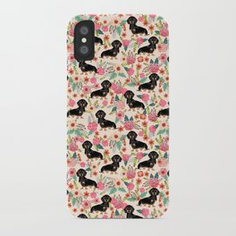 Doxie Florals - vintage doxie and florals gifts for dog lovers, dachshund decor, black and tan doxie iPhone Case