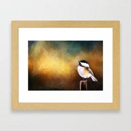 Chickadee in Morning Prayer Framed Art Print