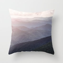 Smoky Mountains Sunset - Wanderlust Nature Photography Throw Pillow