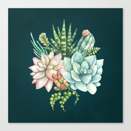 Succulent and Cactus Galore - Jewel Tone Canvas Print