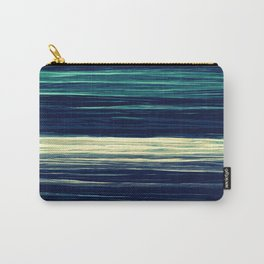 Blue Teal Texture Stripes Carry-All Pouch