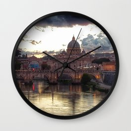 Incredible Sky with Sunset over St Peter, Vatican Rome Wall Clock