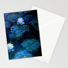 monet water lilies 1899 Blue teal Stationery Cards