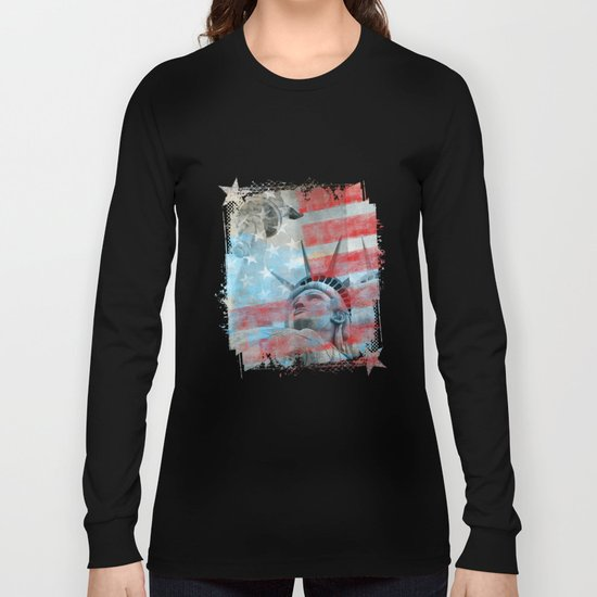 Lady Liberty Stars and Stripes Patriotic Artwork Long Sleeve T-shirt