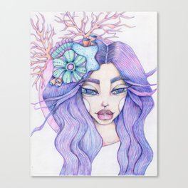 JennyMannoArt Colored Graphite/Keira the Mermaid Canvas Print
