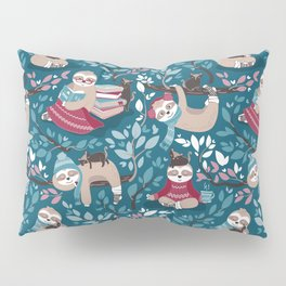 Hygge sloth // turquoise and red Pillow Sham