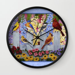 Spring Garden Party Birds and Flowers Wall Clock