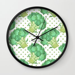 Broccoli on Green dotted Background Wall Clock
