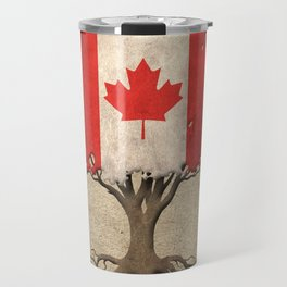 Vintage Tree of Life with Flag of Canada Travel Mug