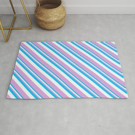 Deep Sky Blue, Mint Cream & Plum Colored Lined/Striped Pattern Rug