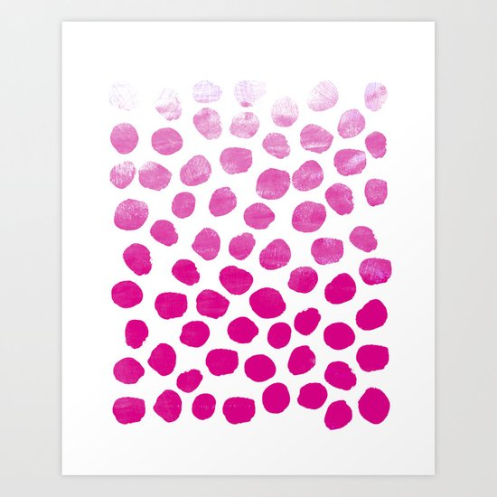 Ombre dots cute hot pink trendy must have gifts for college dorm room decor affordable painting Art Print