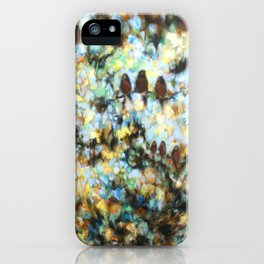 """Rondo"" oil painting of birds in abstract trees and sky iPhone Case"