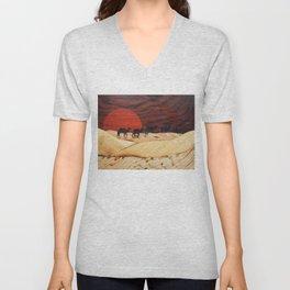 Desert landscape marquetry art Unisex V-Neck