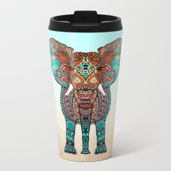 BOHO SUMMER ELEPHANT Metal Travel Mug