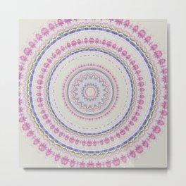 Watercolor Pastel Flowe Mandala Metal Print
