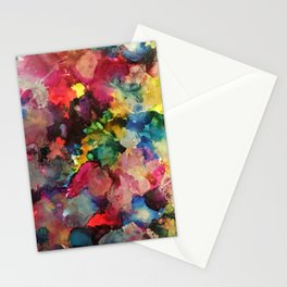 Color Burst - abstract iridescent painting in yellow, red, blue, pink and green Stationery Cards